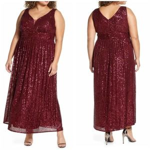 Morgan & Co Sequined Sleeveless Maxi Gown 16W